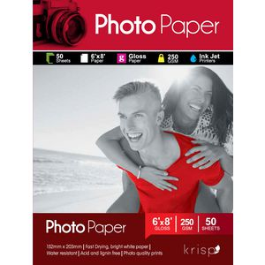 Krisp 250gsm 6 x 8 Glossy Inkjet Photo Paper 50 Sheet Pack