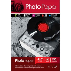 Krisp 180gsm 4 x 6 Glossy Inkjet Photo Paper 150 Sheet Pack