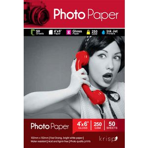 Krisp 250gsm 4 x 6 Glossy Inkjet Photo Paper 50 Sheet Pack