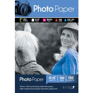 Krisp 180gsm 4 x 6 Matte Inkjet Photo Paper 150 Sheet Pack