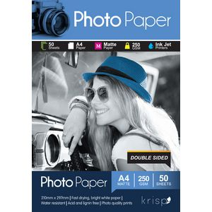 Krisp 250gsm A4 Matte Photo Paper double-sided 50 Sheet Pack