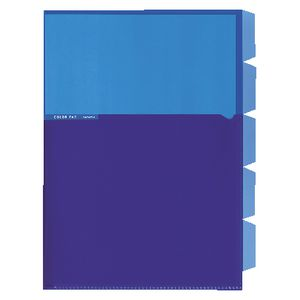 Kokuyo Color Tag A4 Bi-Color Letter File 5 Tab Blue/Purple