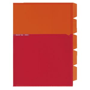 Kokuyo Color Tag A4 Bi-Color Letter File 5 Tab Orange/Red