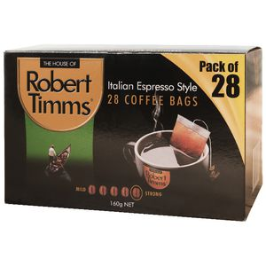 Robert Timms Coffee Bags Italian Espresso 28 Pack