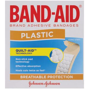 Band-Aid Plastic Strips Blue 100 Pack
