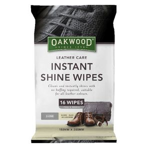 Oakwood Instant Shoe Shine Wipes 16 Pack