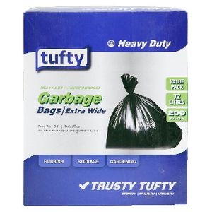 Tufty 72L Garbage Bags 200 Pack
