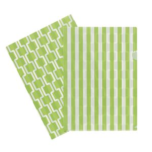 Letter File A4 Single Printed Green Stripe