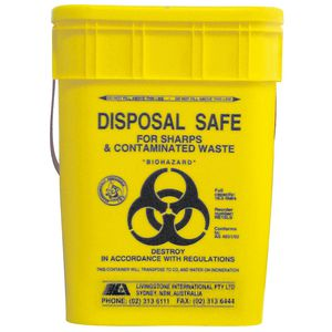 Livingstone Sharps Disposal Container PP Yellow Square 17L