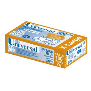 Universal Vinyl Powder Free Glove Blue Extra Large 100 Pack