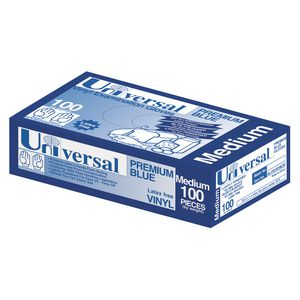 Universal Vinyl Glove Blue Medium 100 Pack