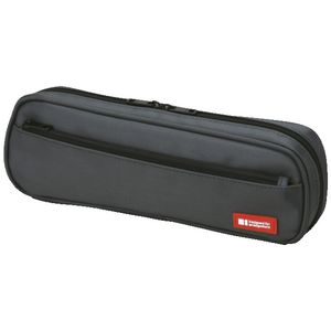 Lihit Lab Twin Zip Tube Multi Compartment Pencil Case Black