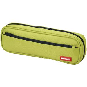 Lihit Lab Twin Zip Tube Multi Compartment Pencil Case Lime