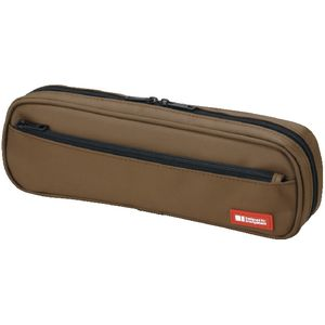 Lihit Lab Twin Zip Tube Multi Compartment Pencil Case Brown