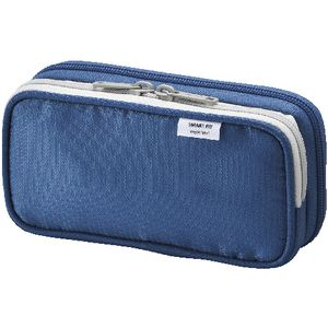 Smart Fit Multi Compartment Pencil Case Small Blue