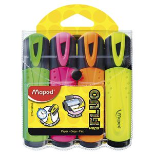 Maped Fluo Peps Highlighters Assorted 4 Pack