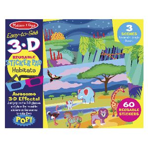 Melissa & Doug Easy-to-See 3D Reusable Sticker Pad Habitats