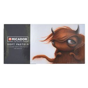 Micador for Artist Soft Pastels Square Sepia 12 Pack