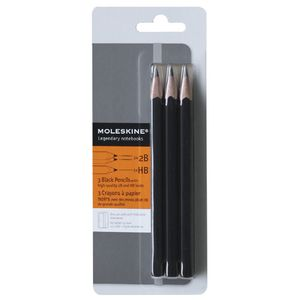 Moleskine Black Graphite Pencils HB and 2B 3 Pack
