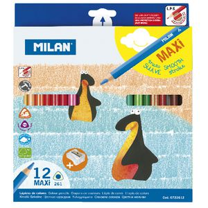 Milan Maxi Triangular Colour Pencils Assorted 12 Pack