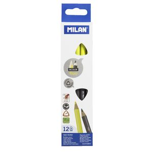 Milan Duo Graphite and Highlighter Pencils Yellow 12 Pack