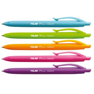 Milan P1 Touch Coloured Retractable Ballpoint Pens 5 Pack