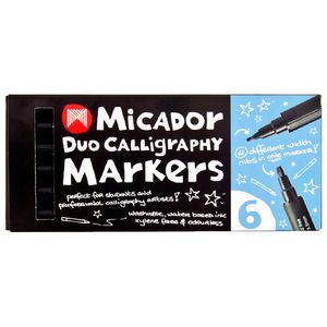 Micador Duo Calligraphy Markers Black 6 Pack