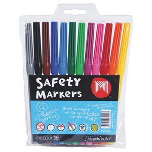 Micador Fine Point Safety Markers 12 Pack