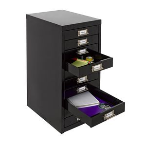 Spencer 10 Drawer Cabinet With Wheels Black