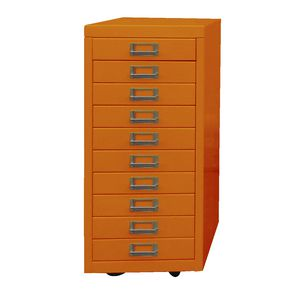 Spencer Limited Edition 10 Drawer Cabinet With Wheels Orange