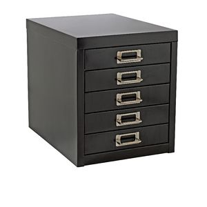 Spencer 5 Drawer Desktop Cabinet Black