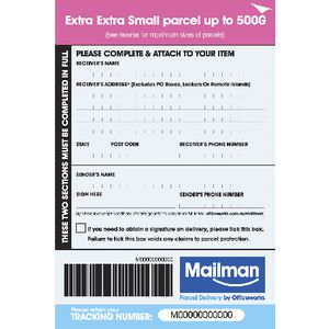 Mailman Parcel Delivery Label Extra Extra Small Up To 500g