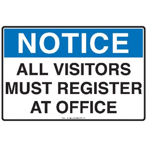 Mills Display Visitors Must Register Sign 300 x 450mm