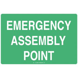 Mills Display Emergency Assembly Sign 300 x 450mm