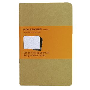 Moleskine Cahier Ruled Notebooks Pocket Kraft 3 Pack