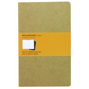 Moleskine Cahier Ruled Notebooks Large Kraft 3 Pack
