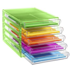 J.Burrows Desktop File Storage Organiser 5 Drawer Green