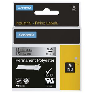 DYMO Rhino Metallic Permanent Label Tape 12mm Silver