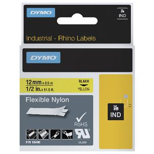DYMO Rhino Flex Nylon Tape 12mm Black on Yellow