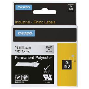 DYMO Rhino Permanent Polyester Tape 12mm Black on Clear
