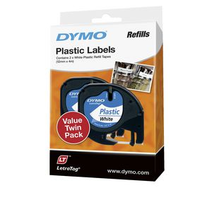 DYMO LetraTag Plastic Label Tape 12mm Black on White 2 Pack