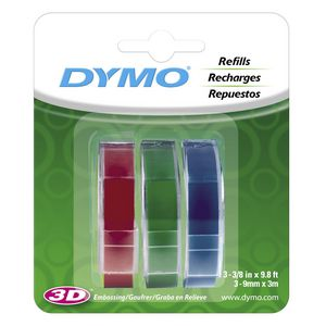 DYMO Embossing Tape 9mm x 3m Assorted Colours 3 Pack
