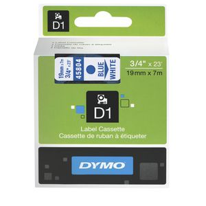 DYMO D1 Label Printer Tape 19mm x 7m Blue on White