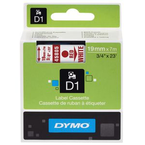 DYMO D1 Label Printer Tape 19mm x 7m Red on White