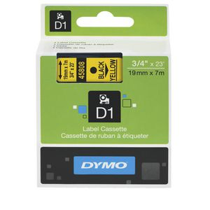 DYMO D1 Label Printer Tape 19mm x 7m Black on Yellow