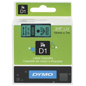 DYMO D1 Label Printer Tape 19mm x 7m Black on Green