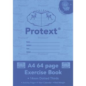 Protext A4 Exercise Book 14mm Dotted Thirds 64 Page Blue