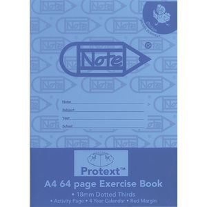 Protext A4 Exercise Book 18mm Dotted Thirds 64 Page Blue