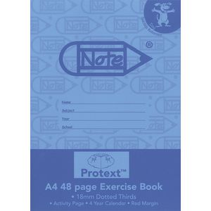 Protext A4 Exercise Book 18mm Dotted Thirds 48 Page Blue