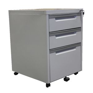 Steelco 3 Drawer Mobile Pedestal Silver Grey